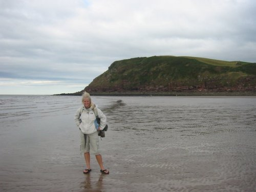 Me standing in the Irish Sea at the end of the walk